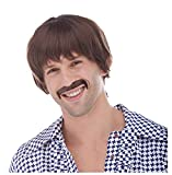 Brown 60's Hippie Sonny Bono Wig and Mustache Costume Set for Men