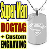 Superman Logo Custom Engraving Dogtag Pendant Necklace + Free Back Side Text Engraving