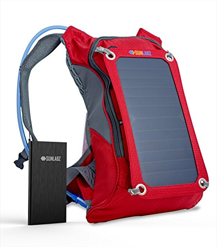 SunLabz Solar Charger Backpack (7W) with 10,000 mAh Power Bank and 1.8L Hydration Pack and Ergonomic Carrying System