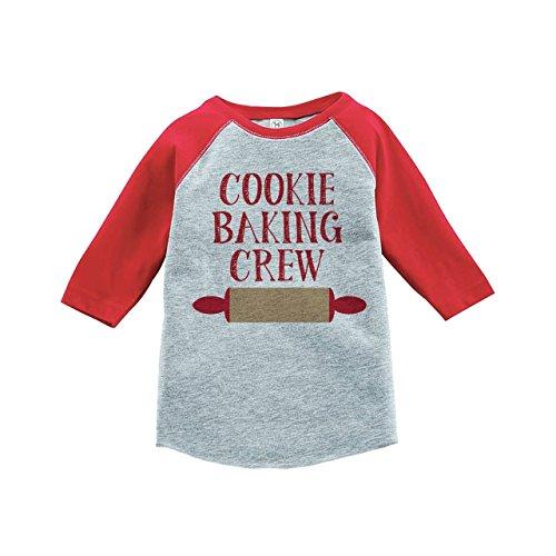 Custom Party Shop Kids Cookie Baking Crew Christmas Raglan Shirt Red 3T