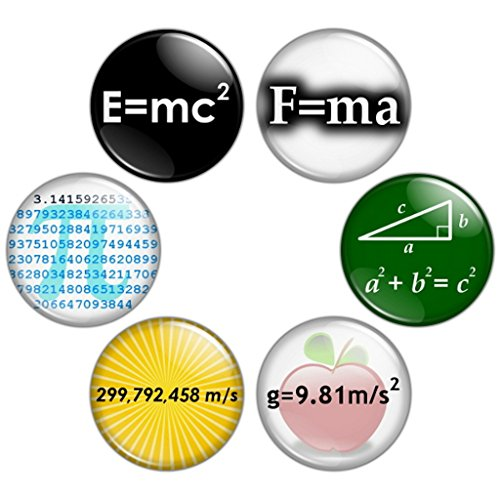 Button Bistro Men's Math & Science Geek 1.25 inch Pinback Button Set Badges Pins