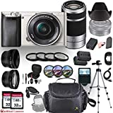 Sony Alpha a6000 (Silver) Mirrorless E-Mount Camera with 2 Sony Lenses (E 16–50mm f/3.5–5.6 OSS and E 55–210mm f/4.5-6.3 OSS) + Professional Accessory-Kit Bundle