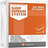 HOSPITOLOGY PRODUCTS Sleep Defense System - Zippered Box Spring Encasement - Full/Double - Bed Bug & Dust Mite Proof - Hypoallergenic - 54' W x 75' L