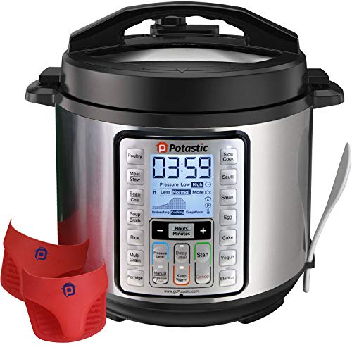 Potastic 6Qt 10-in-1 Programmable Electric Pressure, LCD Display,Instant Cooking with Stainless Steel Pot, Multi, Slow, Rice, Yogurt Maker, Egg Cooker, Saute, Steamer, Warmer