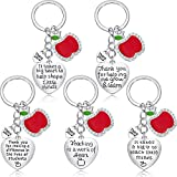 5 Pieces Teacher Apple Keychain for Women Men Teacher Appreciation Gifts Thank You Gift Heart Charm Jewelry Keychains Set