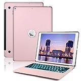 ASANMU Keyboard Case Compatible iPad Pro 12.9-2017(2nd Gen)- 2015(1st Gen)-7 Color Backlit Keyboard Auto Wake/Sleep,iPad Pro 12.9 Keyboard Case (Rose Gold)
