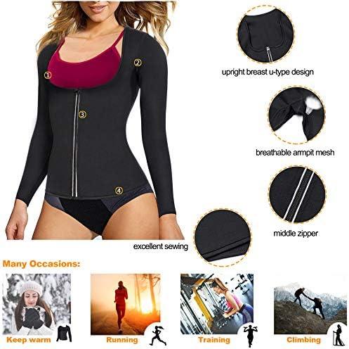 Gotoly Women Waist Trainer Hot Neoprene Shirt Sauna Suit Sweat Body Shaper Jacket Top Zipper Long Sleeve 6