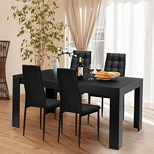 Giantex 5 Piece Dining Table Set, Wood Rectangular Table with 4 Upholstered Chairs Set, Modern Kitchen Table Set, Black Dining Room Table Set, Home Kitchen Dinette Dining Room Restaurant Furniture