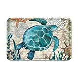 Uphome Sea Theme Bath Mat for Bathroom Tub, Blue Sea Turtle Rubber Non Slip Bath Rug Velvet Foam Coastal Navigation Map Bathroom mat for Shower Floors, Summer Ocean Life Bathroom Decorations, 20x32