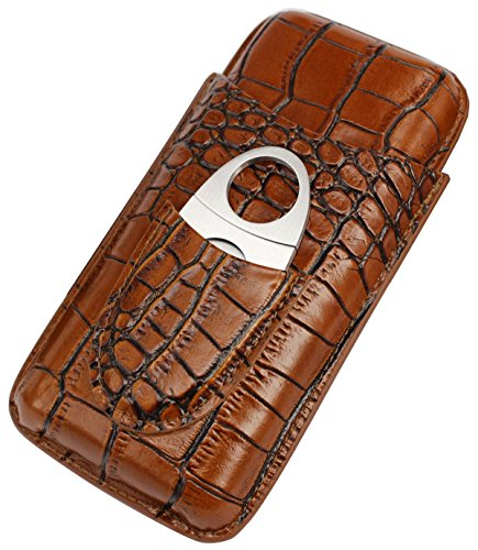 AMANCY Classy Brown Crocodile Genuine Leather Cigar Tube Case with Cutter Set
