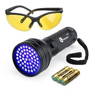 TaoTronics TT-FL002 Black Light, 51 LEDs Uv Blacklight Flashlights Detector for Dry Pets Urine & Stains & Bed Bug with Free Uv Sunglasses & 3 Free AAA Batteries, Purple 18