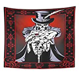 Emvency Tapestry Red Mask Black Skull Voodoo High Priest Purple Hat Top Papa Evil Man Home Decor Wall Hanging for Living Room Bedroom Dorm 60x80 Inches