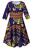 RAISEVERN Teenager Girls Hanukkah Geometric Dress Fashion Midi Sleeve Frock Penguin Sundresses Crew Neck Princess Skirts Chanukah Casual Candlestick Outfits for Maccabi Festival Size 10-13 Years