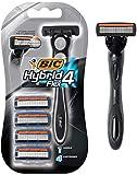 BIC Hybrid 4 Flex Men's Disposable Razor, 1 Handle, 4 Cartridges