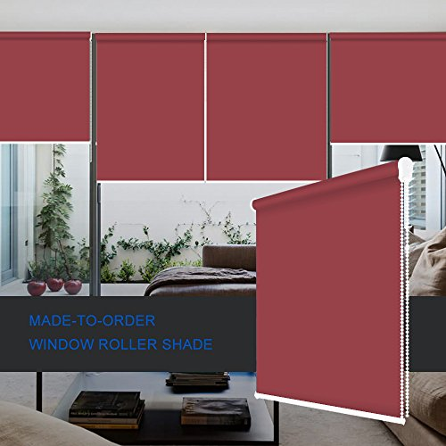 ZY Blinds Blackout Roller Shades Custom Made Any Size from 20-78inch Wide UV Protection Enery Saving Block 100% Light Window Shades Blinds for Home, Hotel, Club, Restaurant 28' W x 84' L, Burgundy