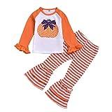 FengGa Toddler Baby Girls Halloween Pumpkin Long Sleeve Tops+Striped Bell-Bottoms Pants Orange