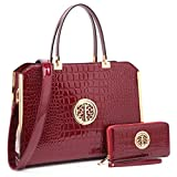 "Women Large Designer Handbags Purses Vegan Leather Briefcases Top Handle Satchel Work Bags for 13"" Laptop"