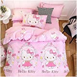 Peachy Baby Featuring Hello Kitty Bedding Sheet Set 100% Cotton Single Queen King Size【Free Express Shipping】 3 and 4 Pieces Pink Cute Cartoon Animate Girly (Queen)