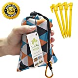 Foldable Beach Blanket (71' x 55') -Compact, Lightweight Sand Proof Pocket Blanket Best Mat for The Beach, Hiking, Camping,Travel Festivals with Pockets, Loops, Stakes, Carabiner (Camouflage Lattice)