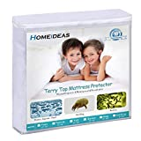 HOMEIDEAS Waterproof Mattress Protector Queen Size, Soft Cotton Terry Surface Fabric, Breathable, Quiet, Hypoallergenic Mattress Cover - Safe Sleep for Adults & Kids - Made with Oeko Tex Technology
