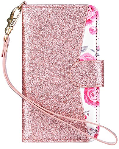 ULAK Wallet Case for iPod Touch 6/ iPod Touch 5, Bling Glitter PU Leather Case with Multi Credit ID Card Holders Pockets Folio Magnetic Closure Cover,Rose Gold for Girls