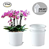 Meshpot 6.3 Inches Plastic Orchid Pots With Holes - 2 Inner Pot,2 Outer Pot,2 Tray (2PCS White)