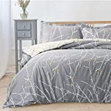 Bedsure Luxury Printed Duvet Cover Set Modern Microfiber with Zipper Closure and Corner Ties Grey Ivory Branch Pattern Full Queen Size 86'x96' with Two Pillow Sham Soft Unique