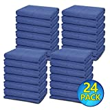 24 Moving Blankets - Deluxe Pro - 80' x 72' (35 lb/dz) for Protecting Furniture Professional Quilted Shipping Furniture Pads Navy Bule and Black