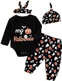 Shalofer Baby Boys Girls My 1st Halloween Outfit 4PS Pumpkin Costume Bodysuit (Black,6-12 Months)