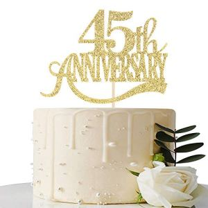 Gold Glitter 45th Anniversary Cake Topper – for 45th Wedding Anniversary / 45th Anniversary Party / 45th Birthday Party Decorations 514CjYWK32L