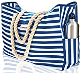 Beach Bag XXL (HUGE). 100% Waterproof. L22'xH15'xW6'. Cotton Rope Handles, Top Magnet Clasp, Two Outside Pockets. Blue Stripes Shoulder Beach Tote has Phone Case, Built-In Key Holder, Bottle Opener