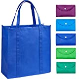 EXOBEST Grocery Bags Reusable Foldable for Shopping (set of 5), Foldable Into Pouch, Extra Large & Durable Heavy Duty Shopping Totes, Washable, Long Handles & Eco Friendly Reusable Shopping Bags