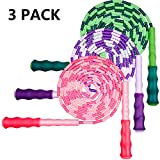 Zonon 3 Pieces Adjustable Jump Rope Soft Beaded Segment Skipping Rope Tangle-Free Jump Rope with Anti-Slip Grip for Outdoor and Indoor Sports, Pink, Green, Purple