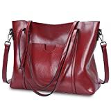 S-ZONE Women Genuine Leather Top Handle Satchel Daily Work Tote Shoulder Bag Large Capacity (Wine Red)