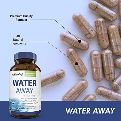 Water Away Diuretic Supplement with Dandelion Leaf – Bloat Relief Pills Weight Loss Relieve Swelling Water Retention – Natural Green Tea Extract Potassium Vitamin B6 for Men & Women 8
