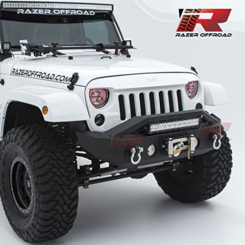 Razer Auto Black Textured Rock Crawler Stubby Front Bumper with OE Fog Light Hole, 2x D-Ring and Built-In 22