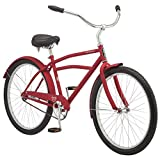 Schwinn Huron Men's Cruiser Bike, Featuring 17-Inch/Medium Steel Frame, Single-Speed Drivetrain, Full Front and Rear Fenders, and 26-Inch Wheels, Red