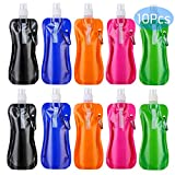 recyco Collapsible Water Bottle 10 Pcs (16 oz), Reusable Drinking Water Bottle with Carabiner for Travel 5 Colors
