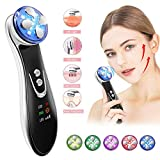 Face Lift Machine 4 in 1 R-F Skin Tightening Machine High Frequency Anti Aging Device EMS Facial Massager for Wrinkle Remover with Color Light Skin Care Beauty Device Rechargeable