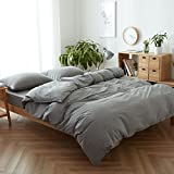 FACE TWO FACE 3-Piece Duvet Cover Queen,100% Washed Cotton Duvet Cover,Ultra Soft and Easy Care,Simple Style Bedding Set (Queen,Gray)