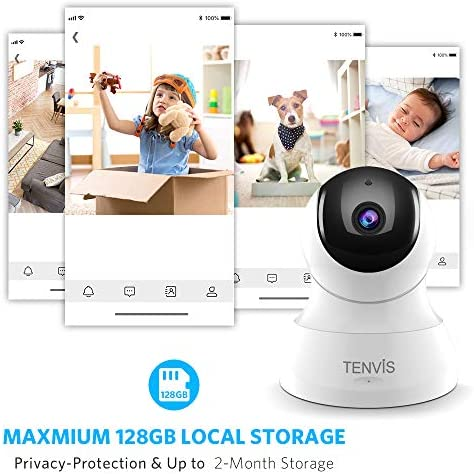 TENVIS Security Camera- Wireless Camera, IP Camera with Night Vision/ Two- way Audio, 2.4Ghz Wifi Indoor Home Dome Camera for Pet Baby, Remote  Surveillance Monitor with MicroSD Slot, Android, iOS App - Various