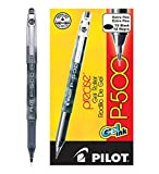 Pilot Precise P-500 Gel Ink Rolling Ball Pens Extra Fine Point Black Ink Dozen Box (38600) Patented Precision Point Technology, Smooth Skip-Free Writing, Marbled Barrel