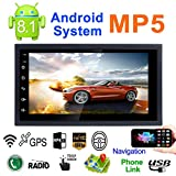REAKOSOUND 7'' Double DIN Android 8.1 MP5 Car Multimedia Player GPS Navigator Steering Wheel  Control FM/AM Radio WiFi Bluetooth Hand-Free Calls Dual USB Fast Charging HD Rear View Camera Mirror Link