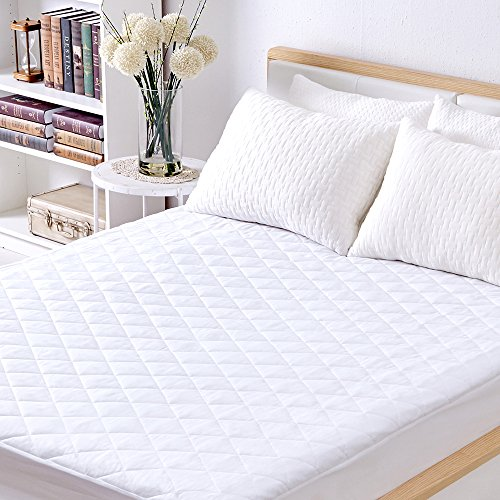 Sable Baby Mattress Pad, Waterproof Protector Quilted (Queen) Cover Topper with FDA Down Alternative Fill, Five Side Protection, Deep Pocket Fitted Skirt 16 Inch, White