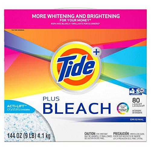 Tide Powder Detergent with Bleach, Original Scent, 80 Loads, 144 Ounce