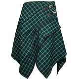Tartan Skirt - 3 Pocket Skirt in 2 Traditional Scottish Tartan Colors (XL, Sea Blue/Absinthe Green)