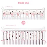 BROLEX Dual Use Crib Rail Cover/Crib Bumper-1 Pack For Narrow Long Rail,Fit Rails up to 8' Around,Reversible,Padded,Ultra Soft,Breathable,Pink/Grey