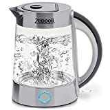 Zeppoli Electric Kettle (BPA Free) - Fast Boiling Glass Tea Kettle (1.7L) Cordless, Stainless Steel Finish Hot Water Kettle - Glass Tea Kettle, Tea Pot - Hot Water Heater Dispenser