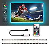 USB LED Strip Lights Kit, Bias Lighting With RF Remote Controller, IP65 Waterproof Flexible Strip Light, 5050 RGBW, 5v USB Cable TV Backlight Kit, Lighting Rope For TV, Mirror, PC Monitor, 1M (3.28ft)