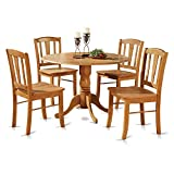 East West Furniture DLIN5-OAK-W 5-Piece Round Kitchen Table and 4 Dinette Chairs Set, Oak Finish